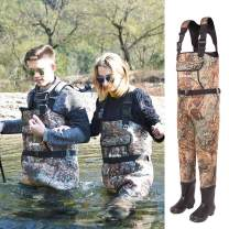 NEYGU 5MM Thickened Neoprene Waterproof and Thermal Chest Wader with Rubber Boots Keep You Warm Under -31 ℉,Tender Green Camo Style