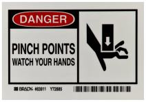 "Brady 83911 3-1/2"" Height, 5"" Width, B-302 High Performance Polyester, Black And Red On White Color Alert Sign, Legend ""Danger, Pinch Points Watch Your Hands With Picto"""