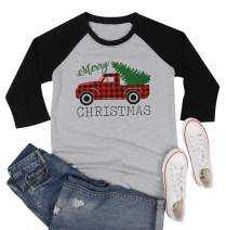 MAXIMGR Plus Size Merry Christmas T-Shirt for Women Plaid Truck Graphic 3/4 Sleeve Raglan Tops Tees Shirt