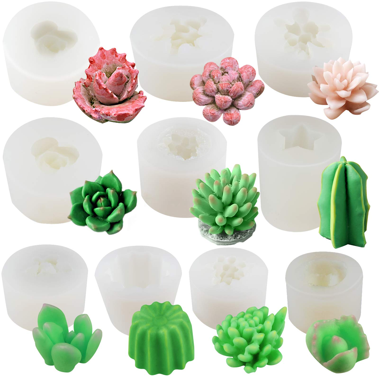 FUNSHOWCASE Cactus and Succulent Plant Silicone Molds Set of 10-Count for Epoxy Resin Soap Candle Wax Polymer Clay Concrete Plaster Fondant Cake Décor Chocolate Isomalt Larger