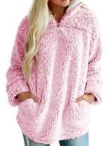 CHARTOU Women's Warm Fuzzy Sherpa Fleece Quarter-Zip Pullover Sweatshirts Outwear (Pink, Medium)