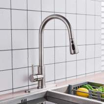 Votamuta Single Handle Kitchen Faucet Sink with Pull Out Sprayer Mixer Tap with Deck Plate Brushed Nickel