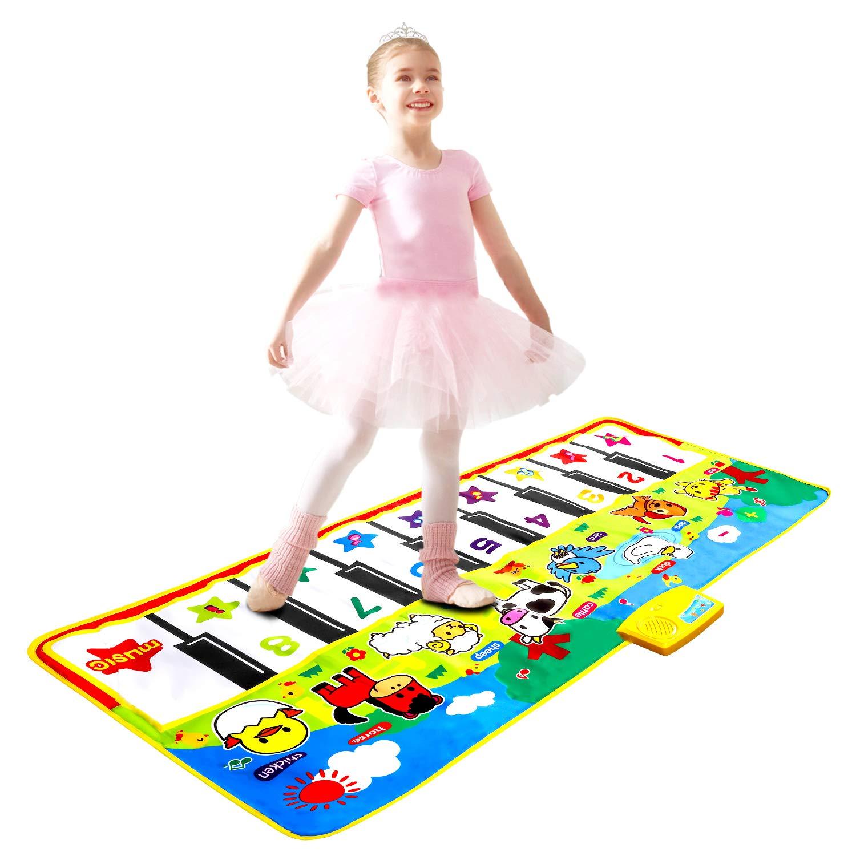M SANMERSEN Piano Mat 53'' x 23'' Piano Keyboard Play Mat Dance Mat Electronic Music Mat Musical Touch Play Game Gifts for Kids Toddlers Girls Boys