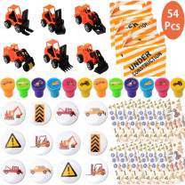 Construction Birthday Party Favors Supplies Set- Construction Trucks Toys, Stampers, Badges, Tattoos and Goodie Bags for Classroom Rewards Carnival Prizes Kit Gifts for Kids Boys Girls - Serve 12 Guests