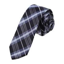 Epoint Men's Fashion Fitted Fabric Mens Gift Silk Checkered Multicolored Skinny Tie