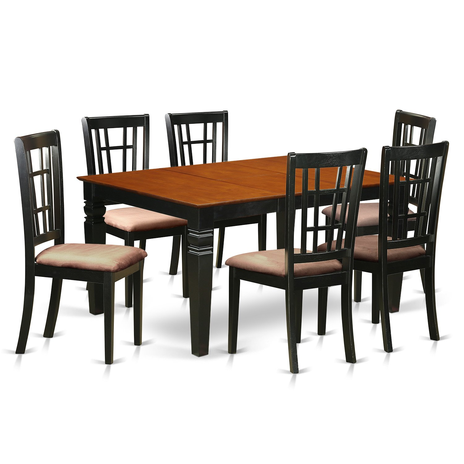 7 Pc Dining set with a Dining Table and 6 Kitchen Chairs in Black
