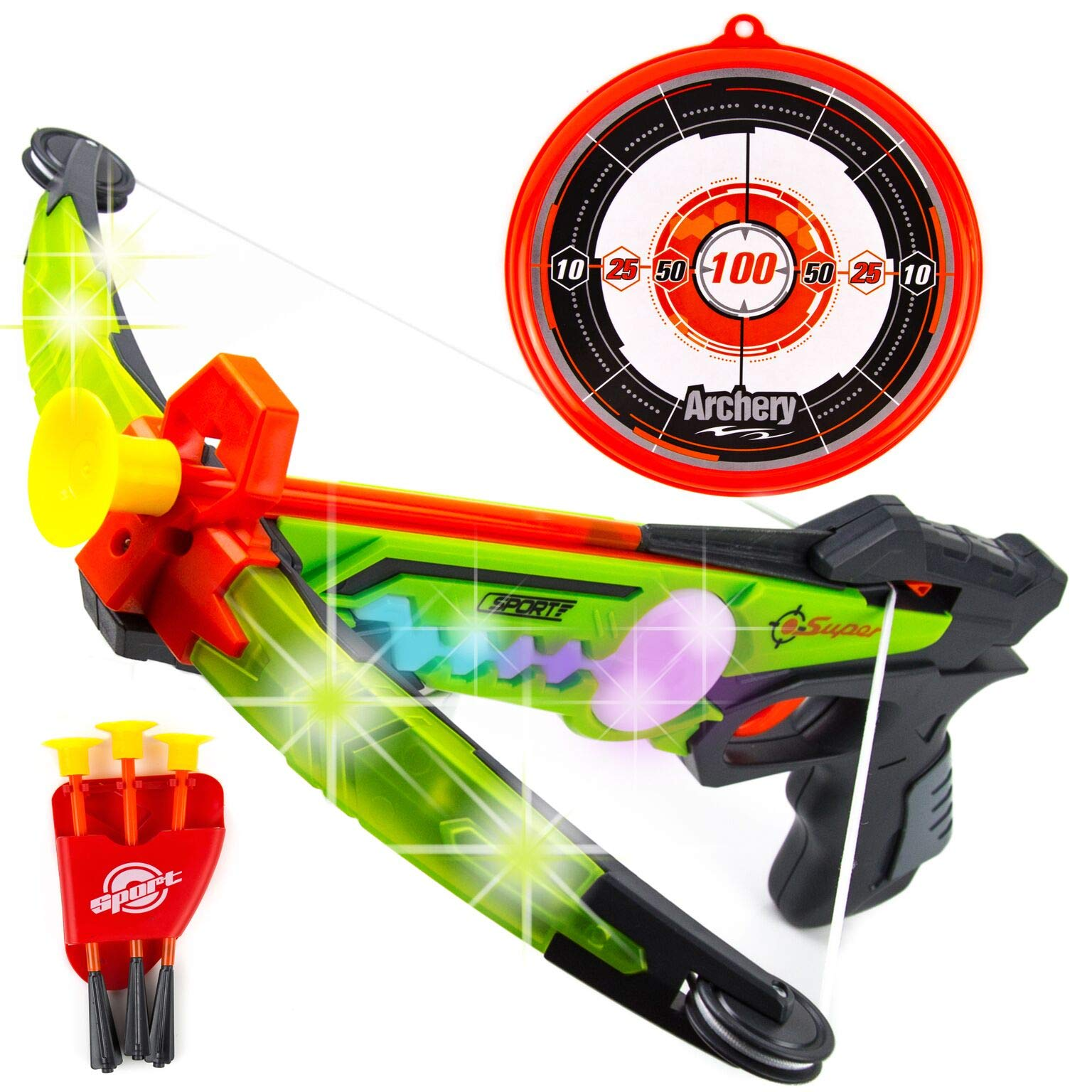 Toysery Real Crossbow Archery Set - Comes with Suction Cup Arrows and Target - Great for Indoor and Outdoor Game - Designed with LED Lights - Ultimate Fun for Kids