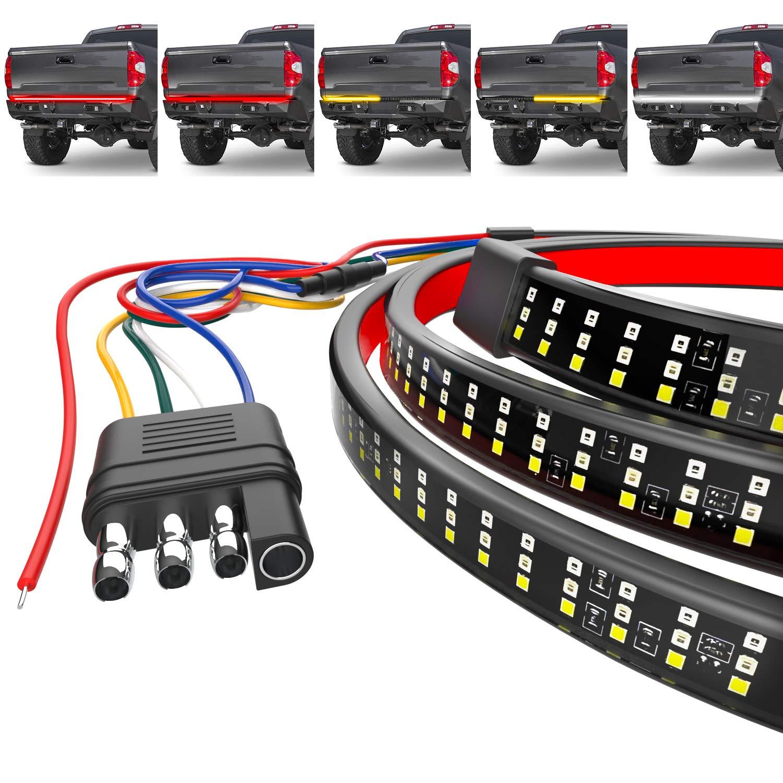 Mega Racer LED Tailgate Light Bar 48 Inch - 5 Functions for Trucks, Brake Light/Running Light/Turn Signal/Reverse Light/Double Flash, 216 Pieces 2935 SMD Premium LED Diodes, IP67 Waterproof Rating
