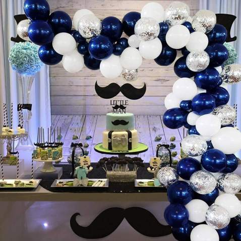 BONROPIN Balloon Garland Arch kit 114 Pieces, 16ft Long Navy Blue White Silver Confetti Balloon, Party Supplies Decorations for Wedding Birthday Baby Shower Graduation Anniversary Organic Party
