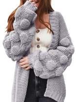 Ferbia Women Oversized Cardigan Knitted Cute Chunky Sweaters Wrap Long Fall Pom Pom Open Front Knit