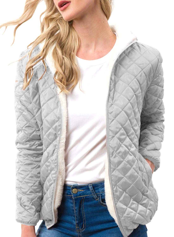 FUTURINO Women's Quilted Lightweight Jackets Short Warm Lamb Wool Hooded  Cardigan Jacket Coats