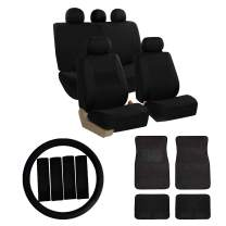 FH Group FB030115 Combo Set: Light & Breezy Cloth Seat Covers (Airbag & Split Ready) W. FH2033 + F14403 Floor Mats Solid Black - Fit Most Car, Truck, SUV, or Van