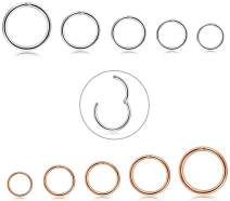 FIBO STEEL 10Pcs 6-14mm Stainless Steel 16g Cartilage Hoop Earrings for Men Women Nose Ring Helix Septum Couch Daith Lip Tragus Piercing Jewelry Set