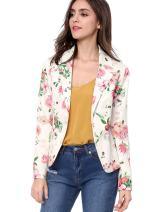 Allegra K Women's Long Sleeve Open-Front Floral Print Blazer Jacket