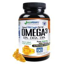 Omega 3 Natural Wild Caught Fish Oil DPA Supplement by Ecostream Naturals - 2,900 Milligrams Triple Strength Ultra Pure Concentrated, EPA-DPA-DHA, Soft-Gels - No Fish Tasting Burps