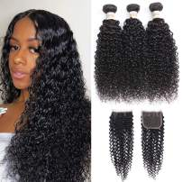 Dream Like Brazilian Curly Hair 3 Bundles With Closure 100% Human Hair Unprocessed Kinky Curly Brazialin Virgin Hair Weave Bundles With Closure (20 22 24 + 18 Free Closure)
