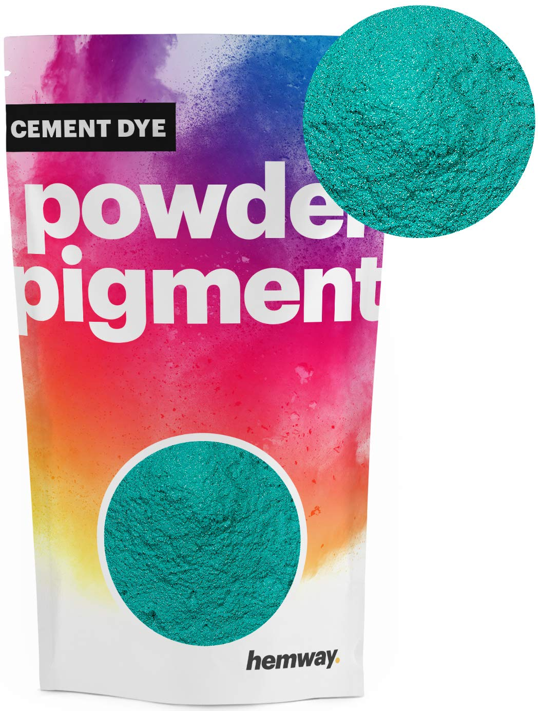 Hemway Cement Dye Powder Pigment Concrete Color Render Mortar Pointing Powdered Brick Toner Plaster (100g / 3.5oz, Metallic Jade Green)