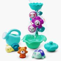 Gizmovine Baby Bath Toys for Toddlers, Flower Waterfall Bathtub Toys for Toddlers, Floating Squirts Animal Sensory Water Toys for Bathtub Baby Bath Toy