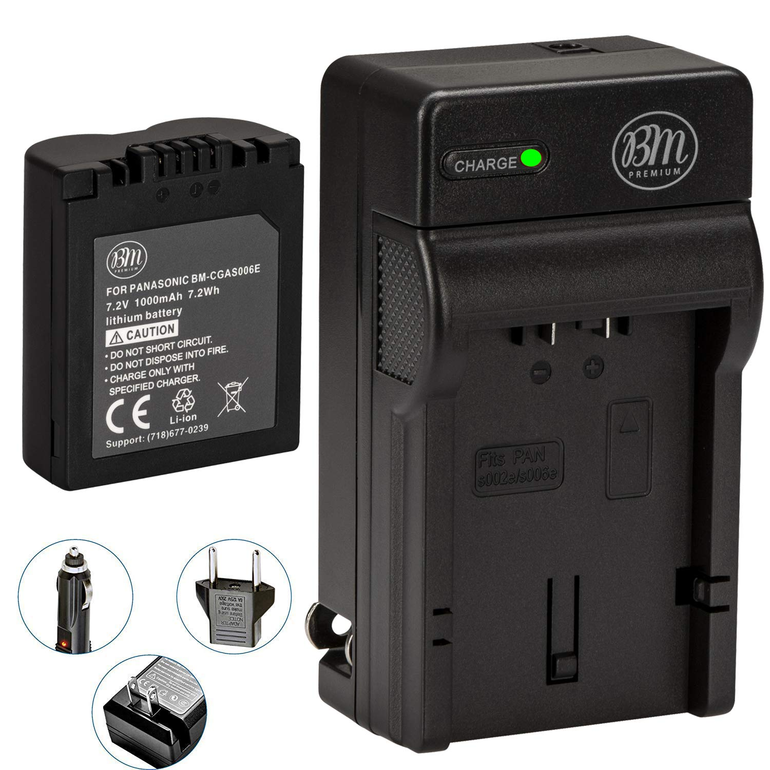 BM Premium CGA-S006 Battery and Battery Charger for Panasonic Lumix DMC-FZ7, DMC-FZ8, DMC-FZ18, DMC-FZ28, DMC-FZ30, DMC-FZ35, DMC-FZ38, DMC-FZ50 Digital Camera