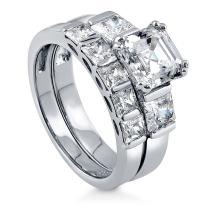 BERRICLE Rhodium Plated Sterling Silver Asscher Cut Cubic Zirconia CZ Statement 3-Stone Anniversary Engagement Wedding Ring Set 3.68 CTW