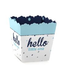Hello Little One - Blue and Silver - Party Mini Favor Boxes - Boy Baby Shower Treat Candy Boxes - Set of 12