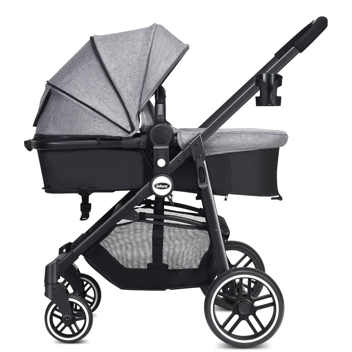 INFANS 2 in 1 Baby Stroller, High Landscape Infant Stroller & Reversible Bassinet Pram, Foldable Pushchair with Adjustable Canopy, Storage Basket, Cup Holder, Suspension Wheels (Grey)