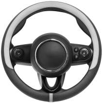 COFIT Breathable and Non Slip Microfiber Leather Steering Wheel Cover Universal S 14-14 2/5 Inch - Gray and Black