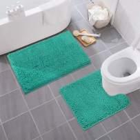 MAYSHINE Bathroom Rug Toilet Sets and Shaggy Non Slip Machine Washable Soft Microfiber Bath Contour Mat (Turquoise, 32x20 / 20x20 Inches U-Shaped)
