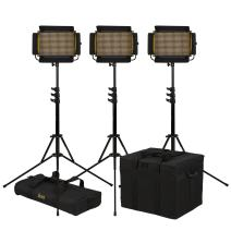 Ikan Onyx (3X) 1 x Half Bi-Color 3200K-5600K Adjustable LED Lighting Kit w/Dual Batteries, DMX Ethernet and Wireless Remote Control, Barn Doors, Case and Stands Included (OYB5-3PT-KIT) - Black
