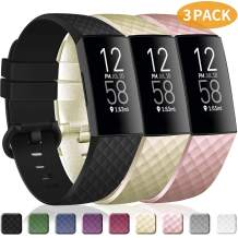 poshei 3 Packs Bands Compatible with Fitbit Charge 4 / Fitbit Charge 3 / Fitbit Charge 3 SE for Women and Men, Classic Replacement Wristband, Soft Silicon Waterproof Quick Release Sports Strap