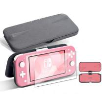 G-STORY Flip Protective Case for Nintendo Switch Lite with Tempered Glass Screen Protectors, Slim Anti-Scratch Anti-Slip Protective Hard Case for Nintendo Switch, 360° Foldable &Adjustable Stand,Pink