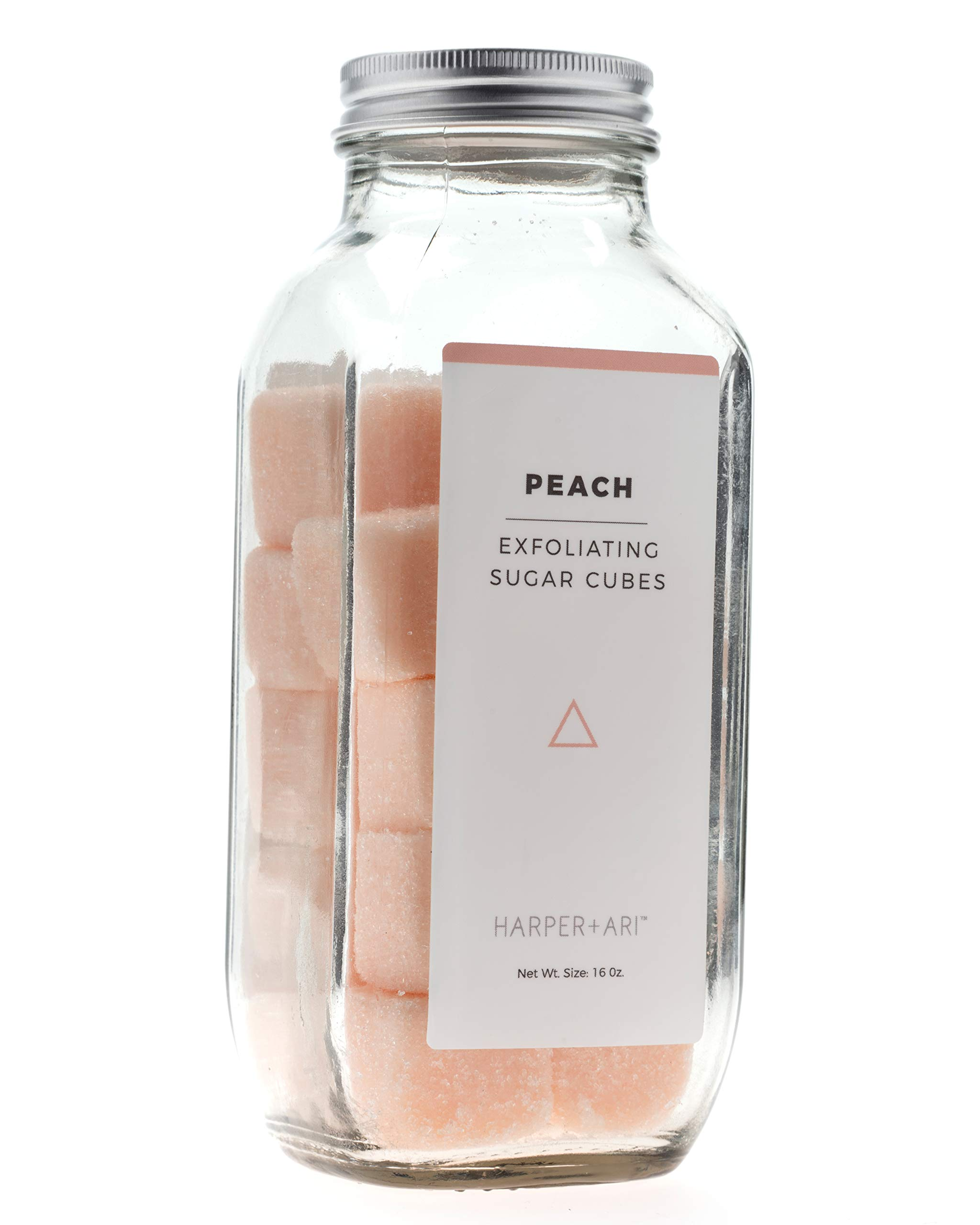 Harper + Ari Sugar Scrub Cubes, Exfoliating Body Scrub in Single Use Size, Soften and Smooth Skin with Shea Butter and Aloe Vera (Peach), 18 Individual Cubes, 16 oz