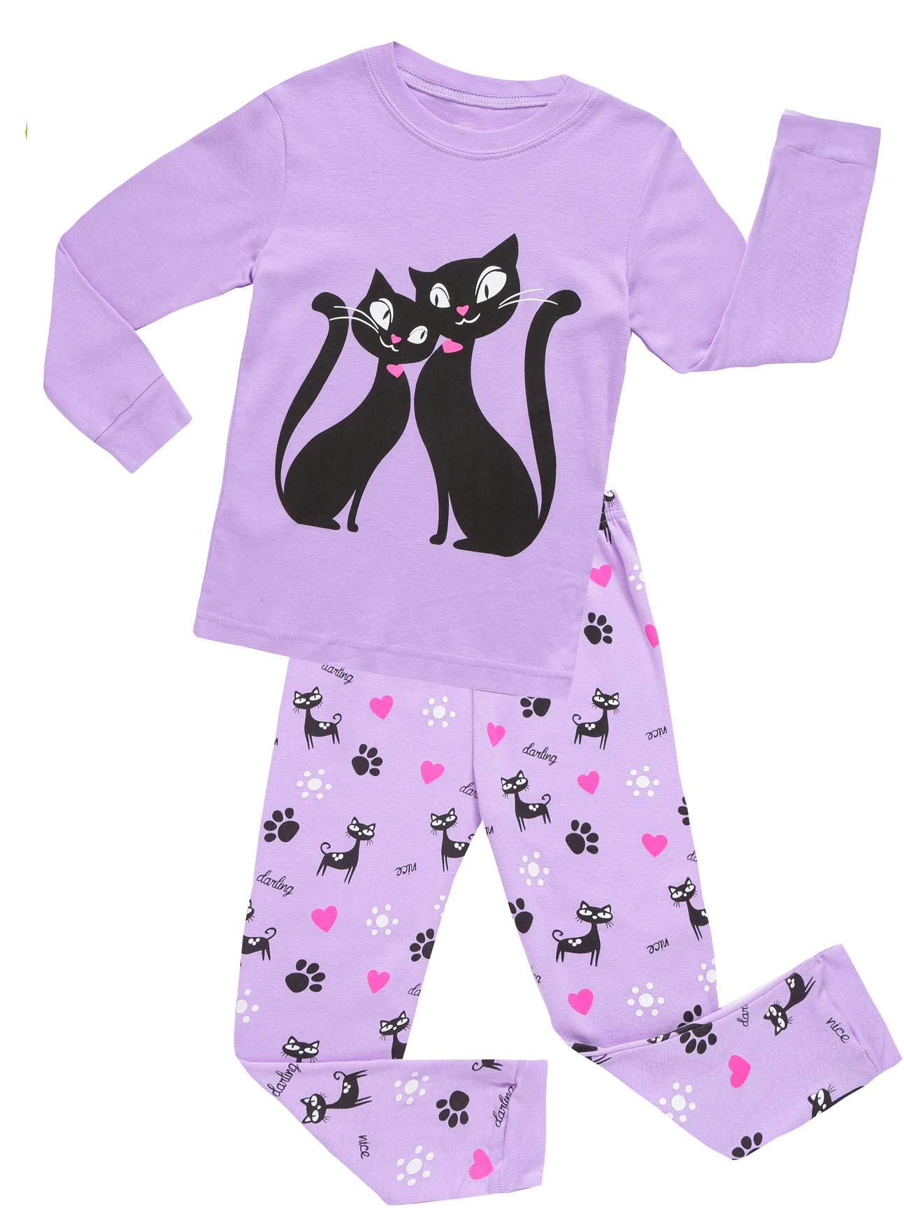 Girls Pajamas Clothes Sleepwear 100% Cotton PJS for Toddlers Children Kids Cat Style Purple