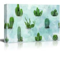 """wall26 Canvas Wall Art - Various Cacti on Abstract Watercolor Background - Gallery Wrap Modern Home Decor 