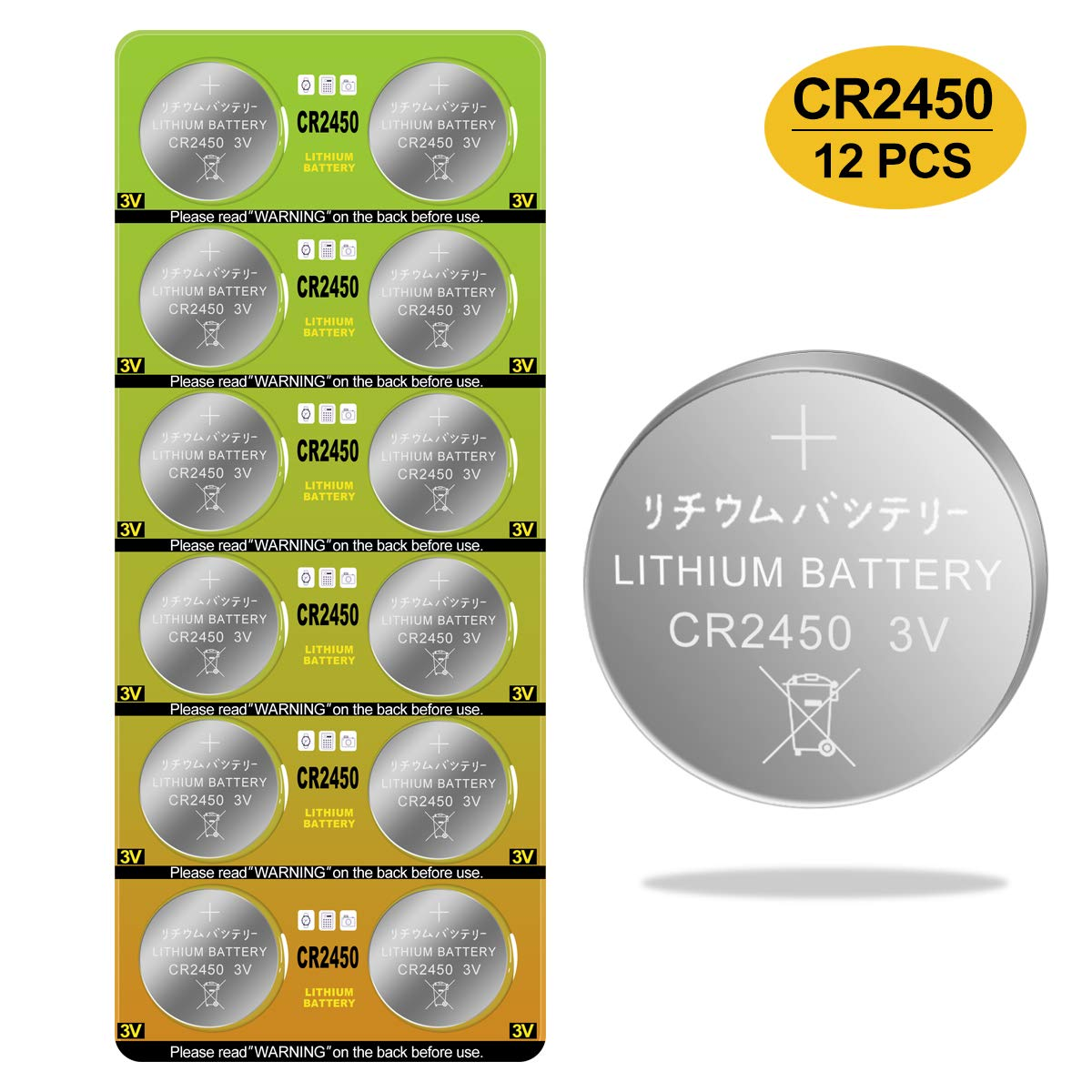 CR2450 Battery 3v Lithium Coin Cell Batteries - High Capacity 700mAh Button Cell Battery 3 Volt CR2450 Batteries for Flameless Tea Light Candles, Remote, Window Sensor 12 Pack