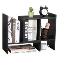 OROPY Expandable Desktop Organizer Shelves Adjustable Bookshelf, Tabletop Display Storage Shelf for Books, Files, Cosmetics and Office Supplies Black