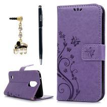 LG K20 Plus Case, LG K20 V Case, LG K10 2017 Case, YOKIRIN Wrist Strap Flip Kickstand PU Leather Wallet Cover Embossed Floral Butterfly with ID&Credit Card Holder 3D Elephant Dust Plug, Purple