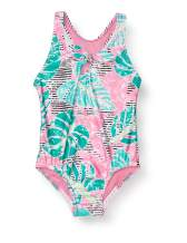 Speedo Girls' Swimsuit One Piece Thick Strap Racer Back Printed