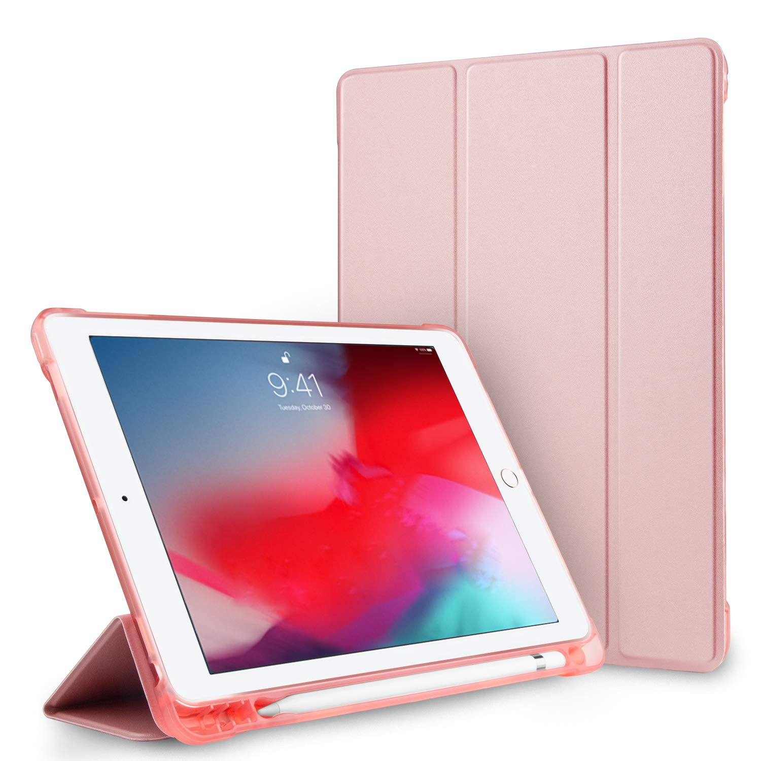 Yunerz iPad 9.7 2018/2017 Case with Pencil Holder, Shockproof Full-Body Protective Leather Case with Auto Wake/Sleep Function, Compatible iPad 9.7 inch 6th/5th Generation/iPad Air 1/2 (Pink)