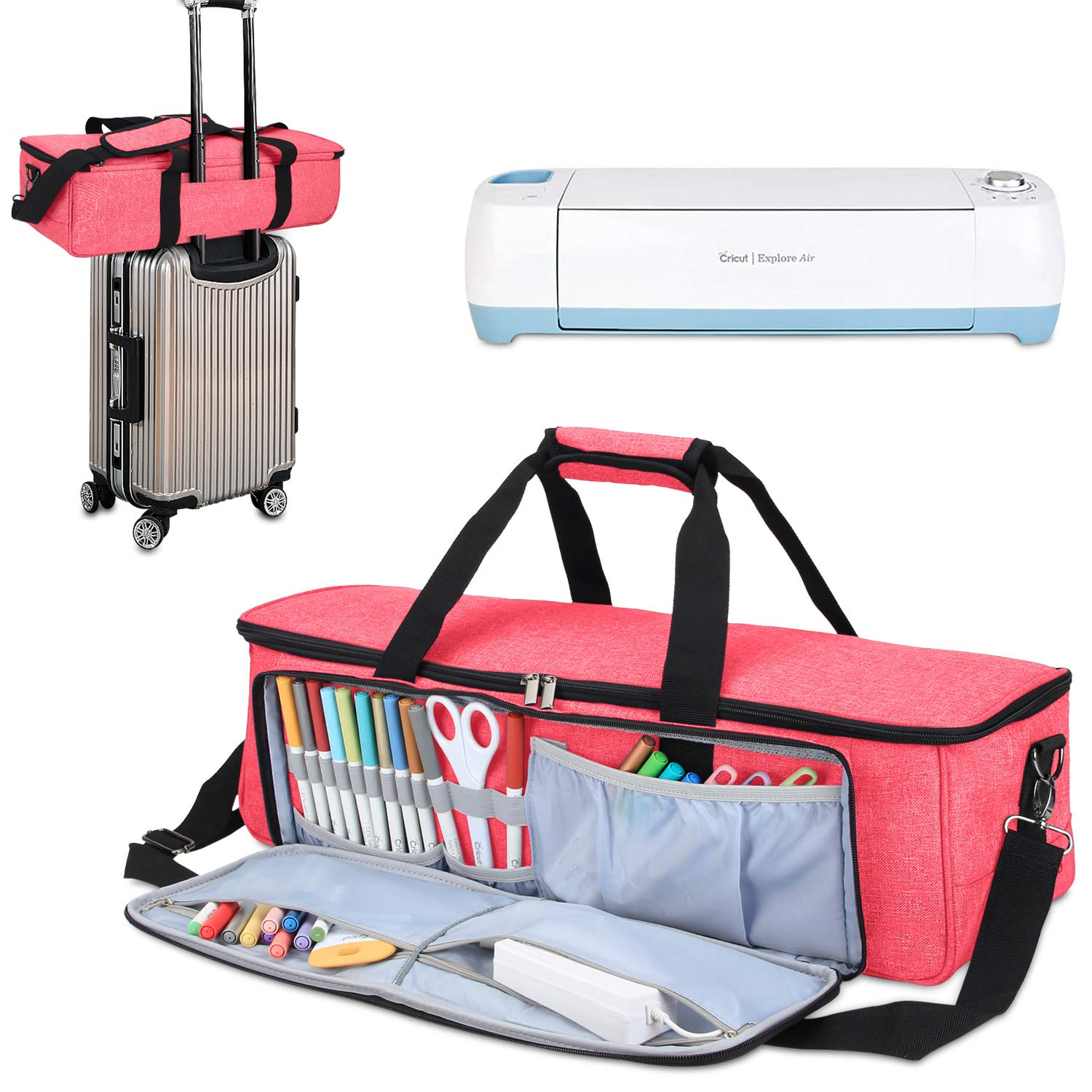 Luxja Carrying Bag Compatible with Cricut Die-Cutting Machine and Supplies, Tote Bag Compatible with Cricut Explore Air (Air2) and Maker (Bag Only, Patent Pending), Red