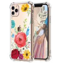 "Hepix iPhone 11 Pro Clear Case Red Poppy Flowers Floral 11 Pro Caes for Girls Women, Slim Soft Flexible Crystal TPU Frame with Protective Bumpers Anti-Scratch Shock Absorption for iPhone 11 Pro (5.8"")"
