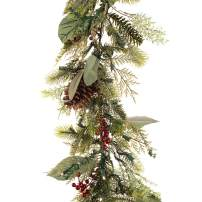 [9 Foot Artificial Christmas Garland] - Winter Frost Collection - Natural Decoration - Pre Lit with 100 Warm Clear Colored LED Mini Lights - Includes Remote Controlled Battery Pack with Timer