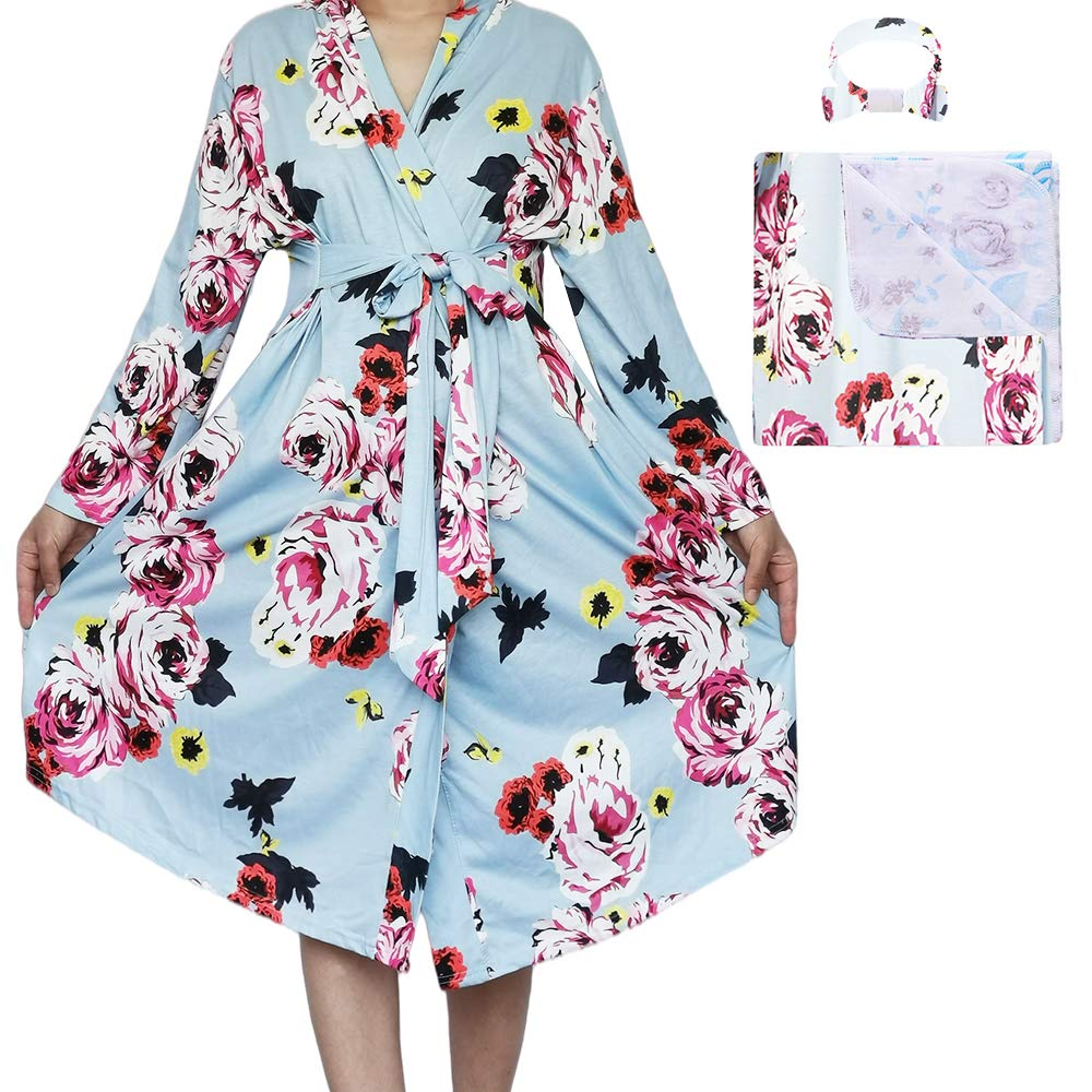 Maternity Robe and Matching Baby Swaddle Blanket, Women Nightgown for Hospital Labor and Delivery Nursing Pregnancy Robe (Blue-Flower, L)