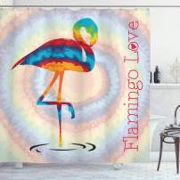 "Ambesonne Flamingo Shower Curtain, Single Flamingo Rainbow Color Tie Dye Effect Background Animal World Artwork Print, Cloth Fabric Bathroom Decor Set with Hooks, 75"" Long, Rainbow"