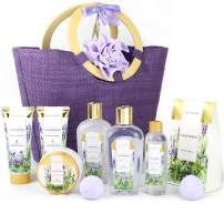 Spa Luxetique Spa Gift Baskets for Women, Lavender Spa Gift Basket, Mother's Day Gift Baskets, Luxury 10 Pcs Home Spa Gift Set with Bath Bombs, Body Lotion, Bubble Bath. Best Gift Set for Women.