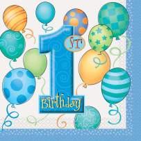 Blue 1st Birthday Party Napkins, 16ct