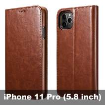 icarercase iPhone 11 Pro Wallet Case, Folio Flip MagneticPu Leather Cover with Kickstand and Credit Slots for iPhone 11 Pro 5.8 inch 2019 (Brown)