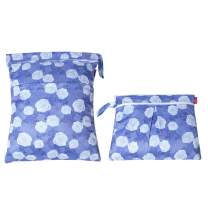 Damero 2Pcs Wet Dry Bag for Cloth Diaper, Swimsuit, Clothes, Ideal for Travel, Exercise, Daycare, Roomy and Water-Resistant(Purple Flowers)