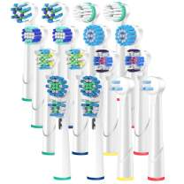 ITECHNIK Replacement Brush Heads Compatible with Braun Oral B, 2x8=16 pack, fits Vitality Precision Clean, Dual Clean, White Clean, Pro-Health, Sensitive Gum Care, Advance Power, Professional Care