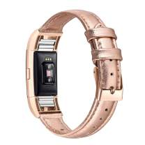 bayite Bands Compatible with Fitbit Charge 2, Slim Genuine Leather Band Replacement Accessories Strap Charge2 Women Men, Rose Gold Small
